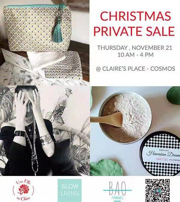 Vente privée de Noël BAO France et Une Fille En Chine, le 21 novembre 2019, 10h à 16h chez Claire (Cosmos).